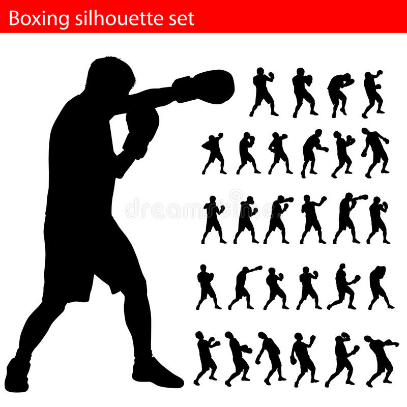 Positionnement de silhouette de boxe de vecteur illustration de vecteur