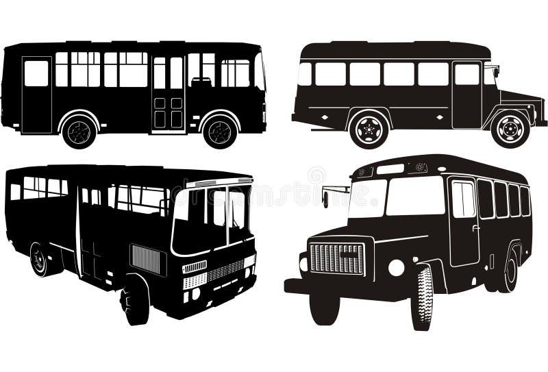 Positionnement de silhouette de bus de ville illustration libre de droits