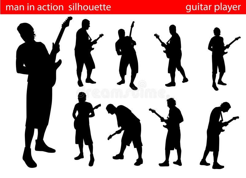 Positionnement de silhouette de joueur de guitare illustration stock