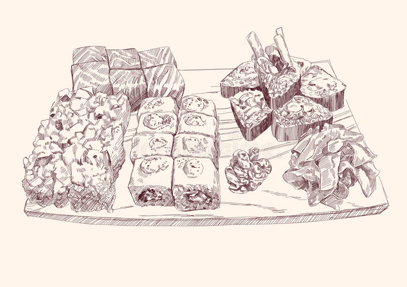 Positionnement de sushi illustration libre de droits