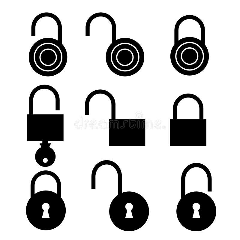 Positionnement de symbole de cadenas illustration stock