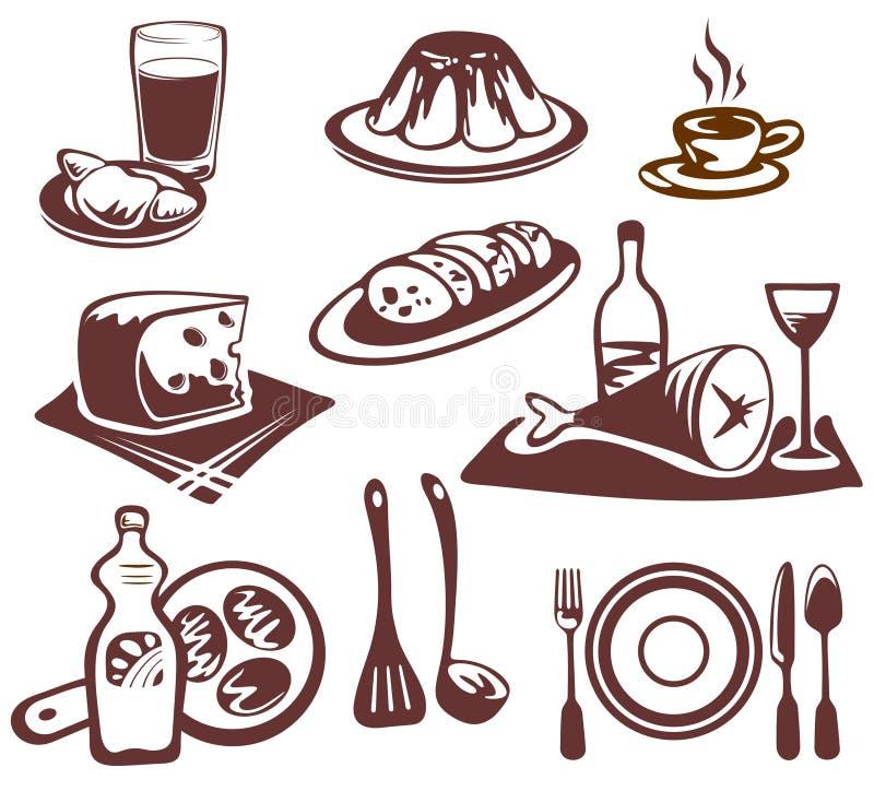 Positionnement de symboles de nourriture illustration libre de droits