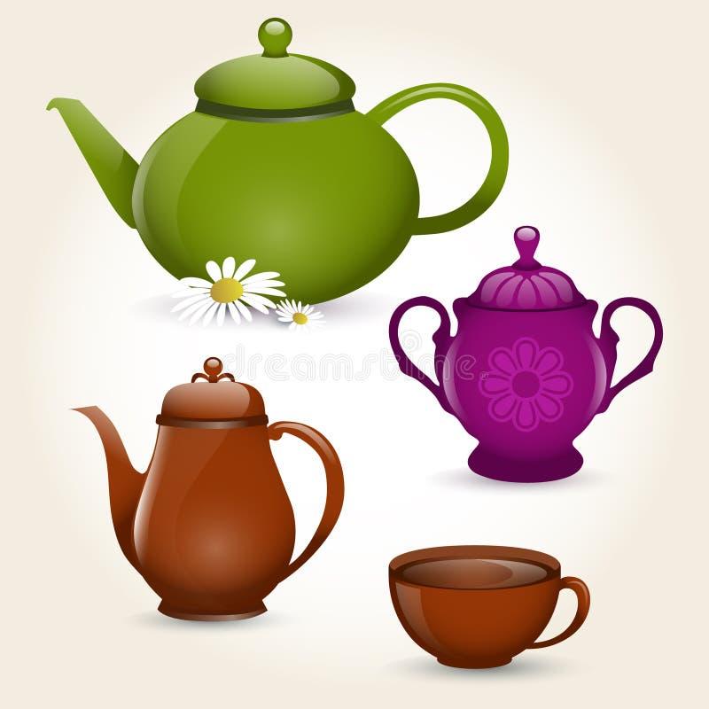 Positionnement de thé illustration de vecteur