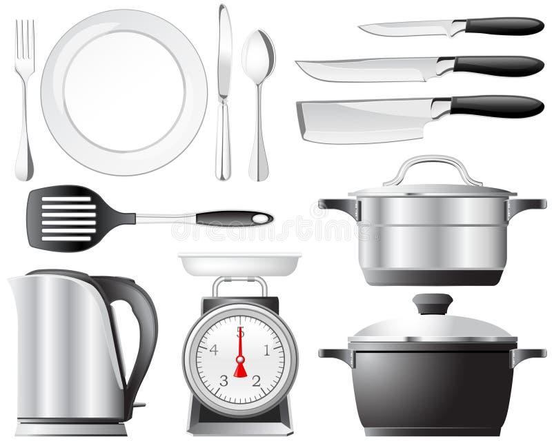 Positionnement de vaisselle de cuisine illustration de vecteur