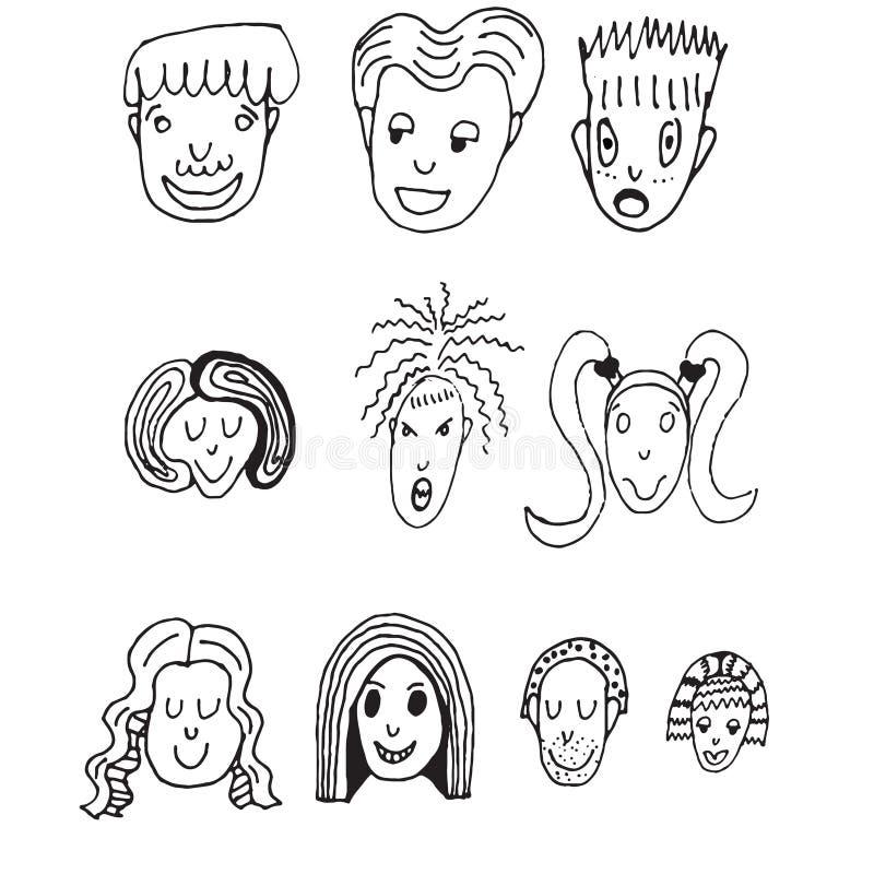 Positionnement de vecteur de bande dessinée 10 visages drôles différents illustration stock
