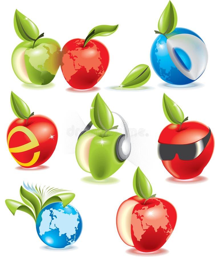 Positionnement de vecteur de pomme d'écologie illustration libre de droits
