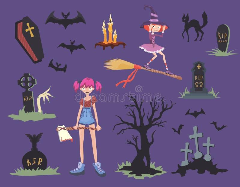 Positionnement de Veille de la toussaint Fille avec la hache, le chat noir, la sorcière sur un balai, les pierres tombales et d'a illustration libre de droits