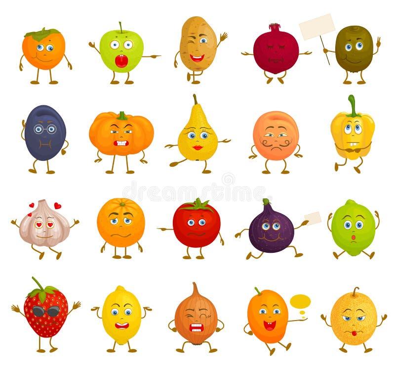 Positionnement du travail du vecteur characters Légumes et fruits de bande dessinée avec différentes émotions illustration stock