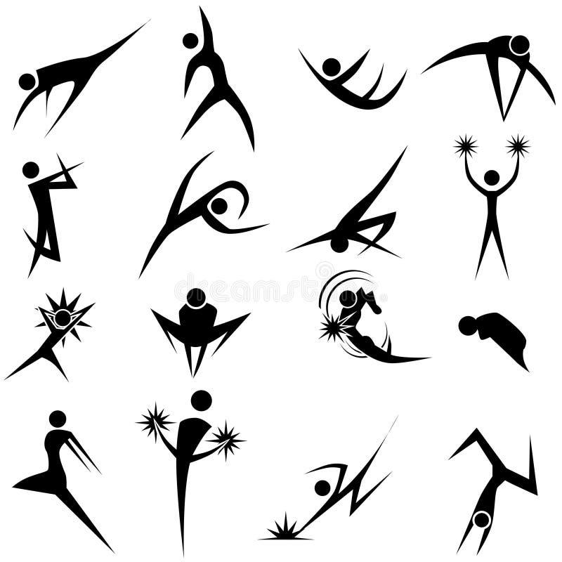 Positionnement dynamique de pose illustration stock