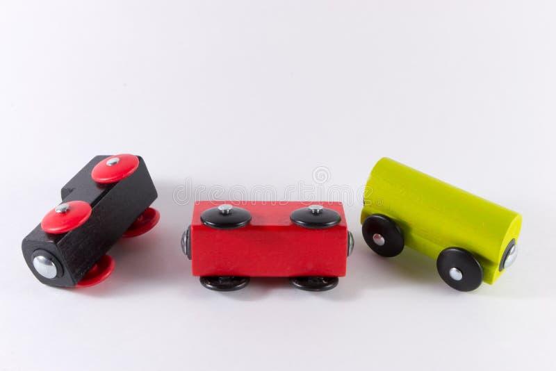 Positionnement en bois de train de jouet photo stock