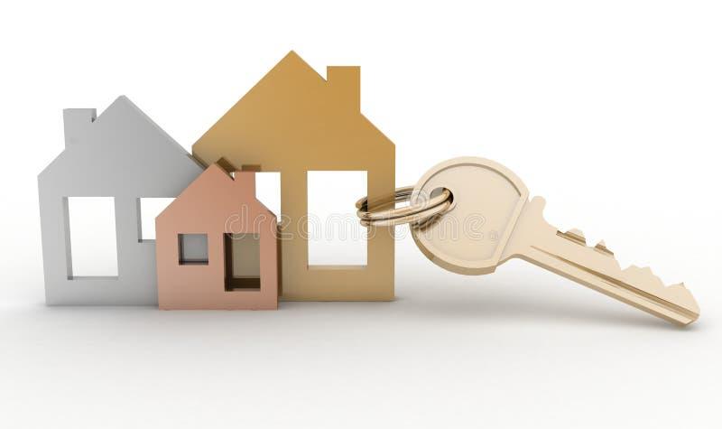 Positionnement et clé de symbole modèles de maison illustration libre de droits