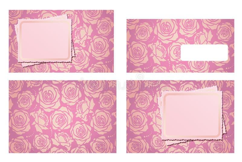 Positionnement et enveloppe de descripteur d'invitation de mariage illustration de vecteur