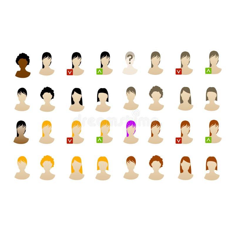 Positionnement femelle de graphisme d'avatars dirigé illustration de vecteur