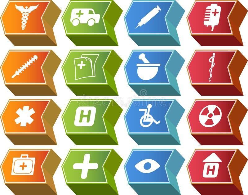 positionnement médical de série de graphisme de bouton de la flèche 3d illustration stock