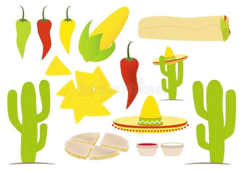 Positionnement mexicain de vecteur de cuisine illustration libre de droits