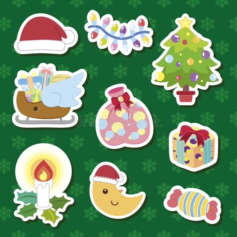 Positionnement mignon de dessin animé de Noël illustration stock