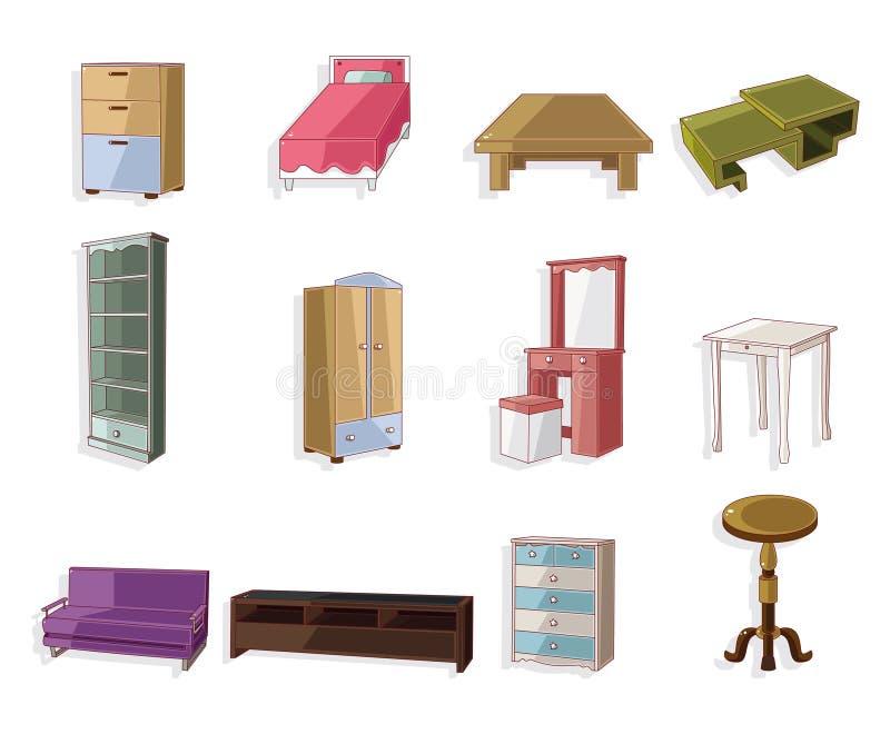 Positionnement mignon de graphisme de meubles de dessin animé illustration stock