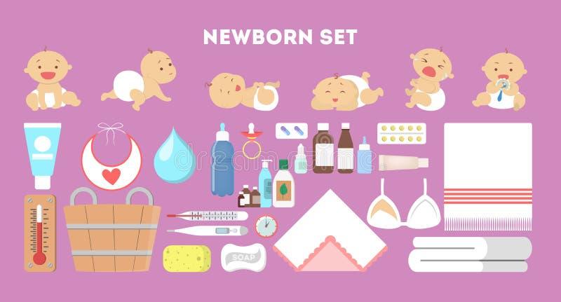 Positionnement nouveau-né de chéri Collection d'outil pour la garde d'enfants illustration de vecteur