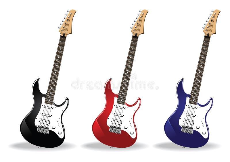 positionnement réaliste de belles guitares illustration stock
