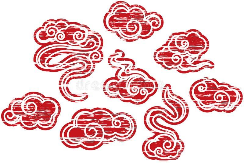 Positionnement rayé et grunge de configuration de nuage illustration libre de droits