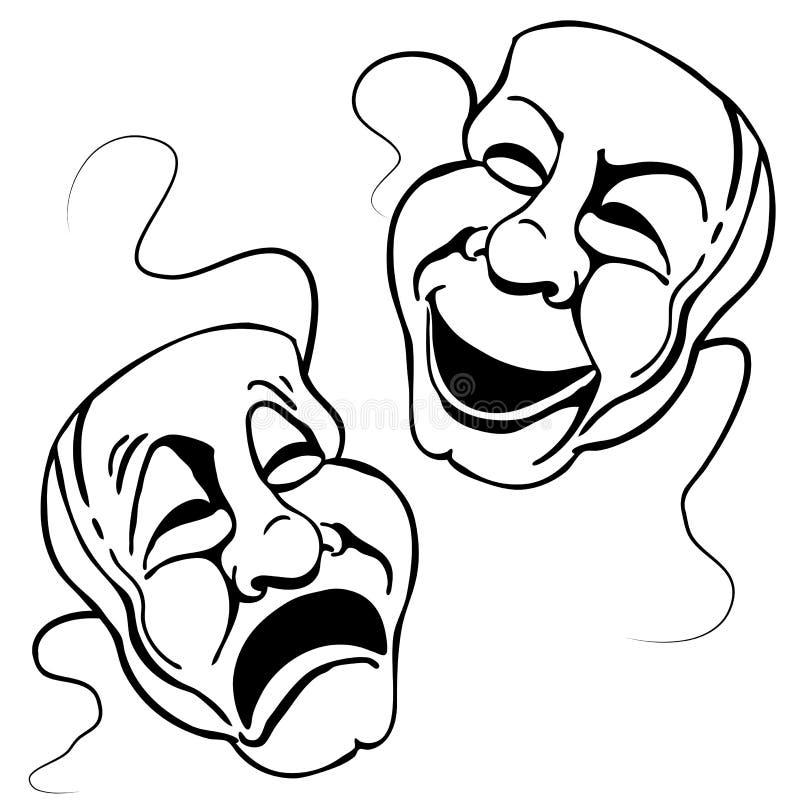 Positionnement romain de masque de théâtre illustration de vecteur