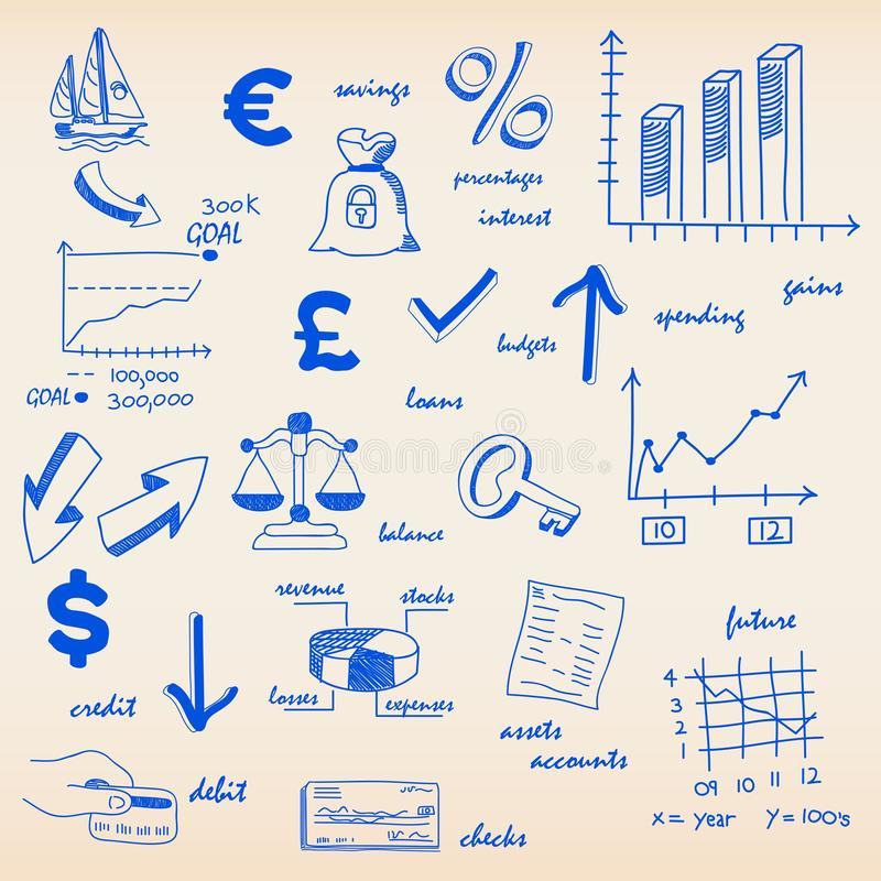 Positionnement tiré par la main de graphisme de budgets illustration de vecteur