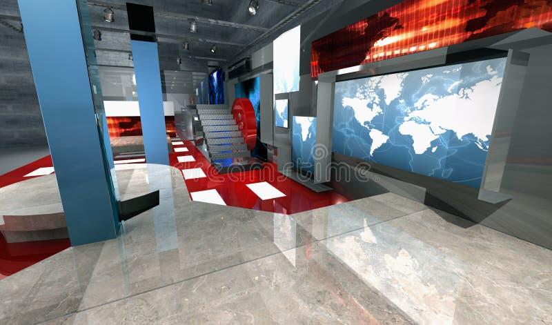 Positionnement virtuel à trois dimensions de nouvelles, vue de côté illustration de vecteur