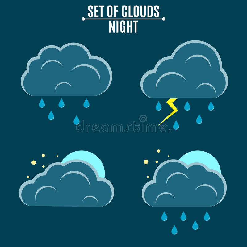 positionnement weather Une illustration simple dans un style plat Ciel de nuit Orage avec la pluie et les nuages tridimensionnels illustration de vecteur