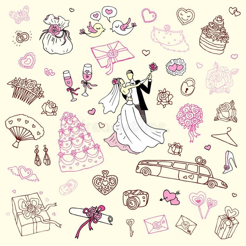 Positionnement Wedding. Illustration tirée par la main. illustration libre de droits