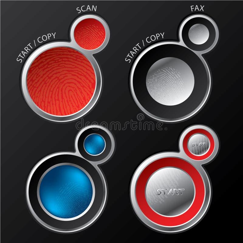 Positionnements de bouton pour des modules de balayage/copieurs illustration libre de droits