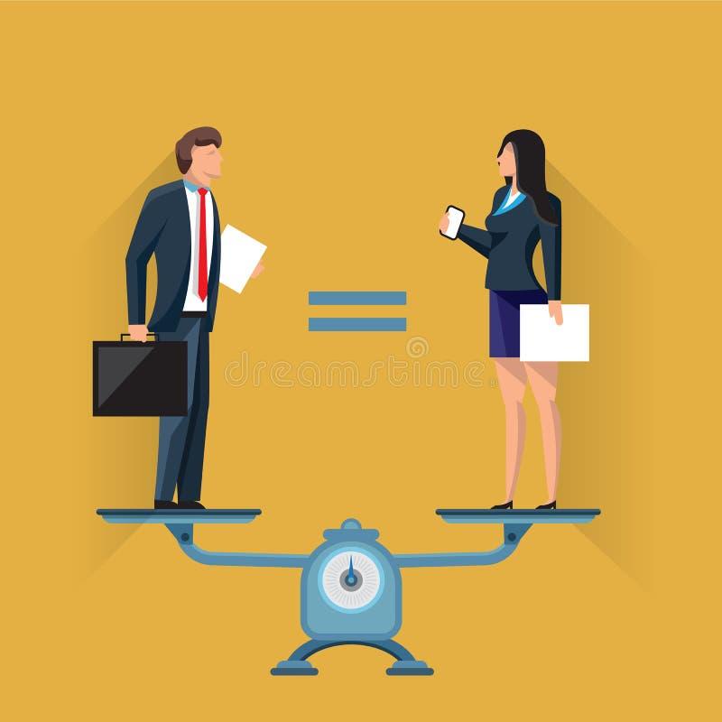 Positions égales de l'homme et de femme sur des échelles illustration stock