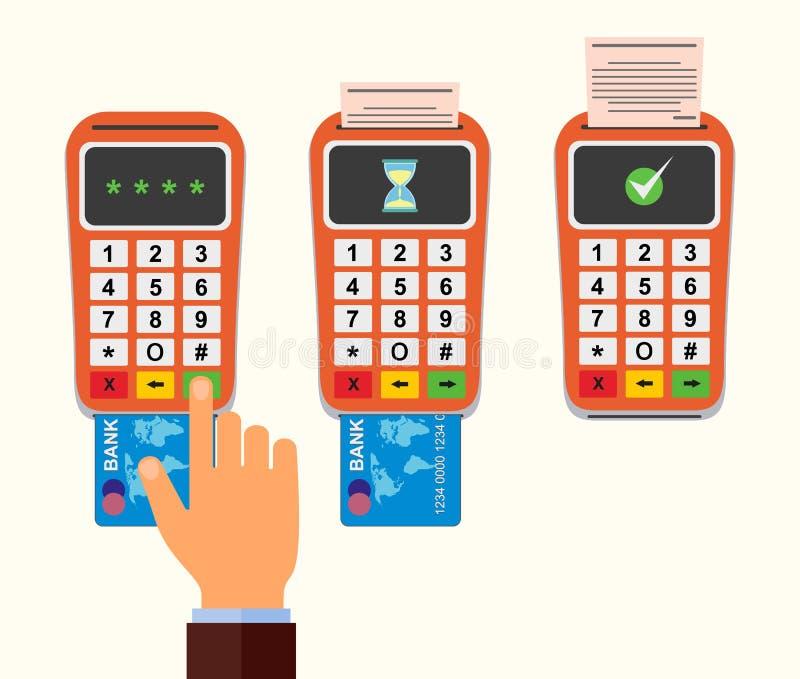 Positions-Anschluss bestätigt die Zahlung durch Debetkreditkarte nfc Zahlungskonzept vektor abbildung