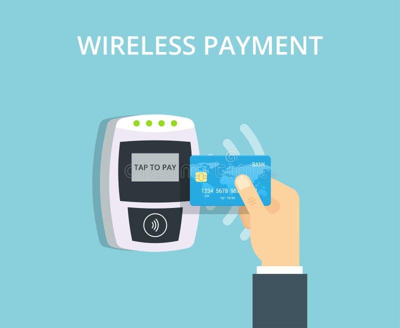 Positions-Anschluss bestätigt kontaktlose Zahlung von der Kreditkarte NFC-Zahlungsillustration in der flachen Art lizenzfreie abbildung