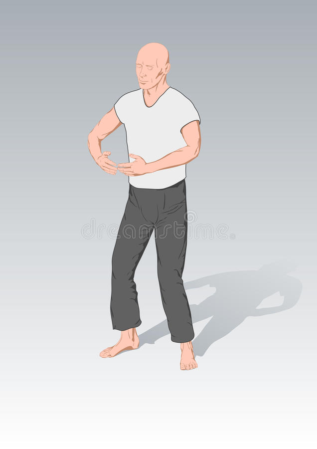 Positions of gymnastics a chi kung vector illustration