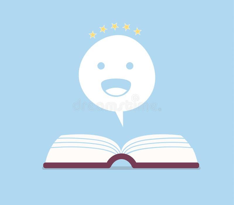 Positiv bokanmälanvektorillustration Lycklig dialogbubbla på den öppnade boken royaltyfri illustrationer