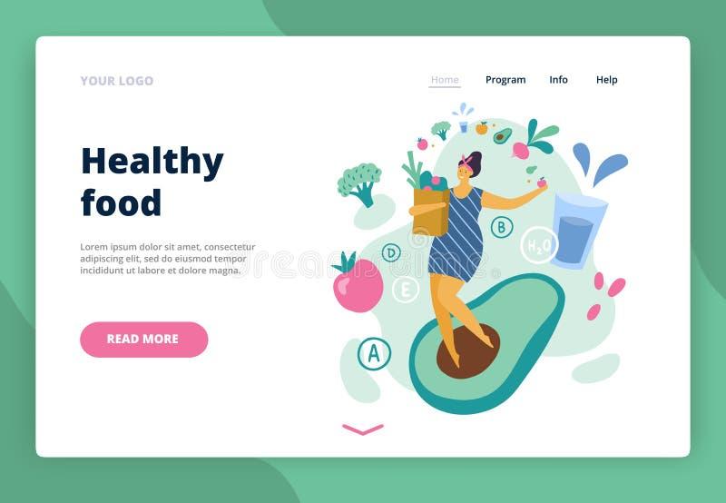 Positiv flicka för lycklig kropp med sund livsstil stock illustrationer