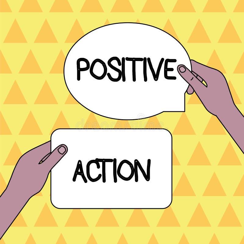 Positiv handling f?r handskrifttext Begreppsbetydelse som gör bra inställning mot mellanrum för reaktion två för bestämt läge fin royaltyfri illustrationer