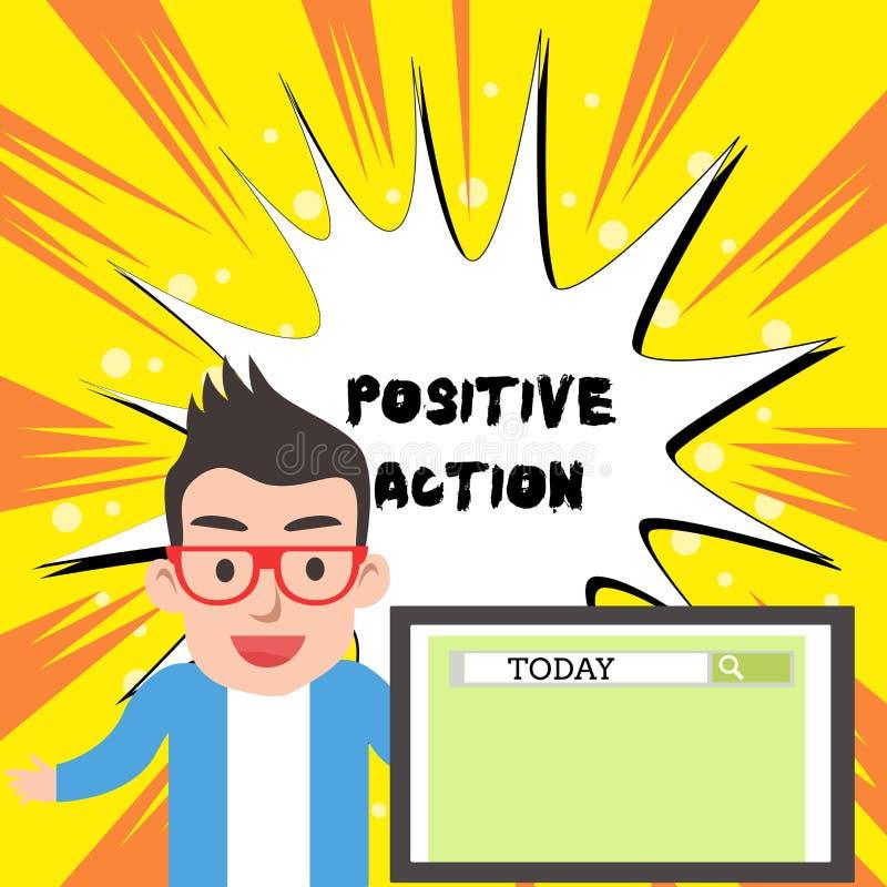 Positiv handling f?r handskrifttexthandstil Begreppsbetydelse som g?r bra inst?llning mot best?md l?gebotreaktion stock illustrationer