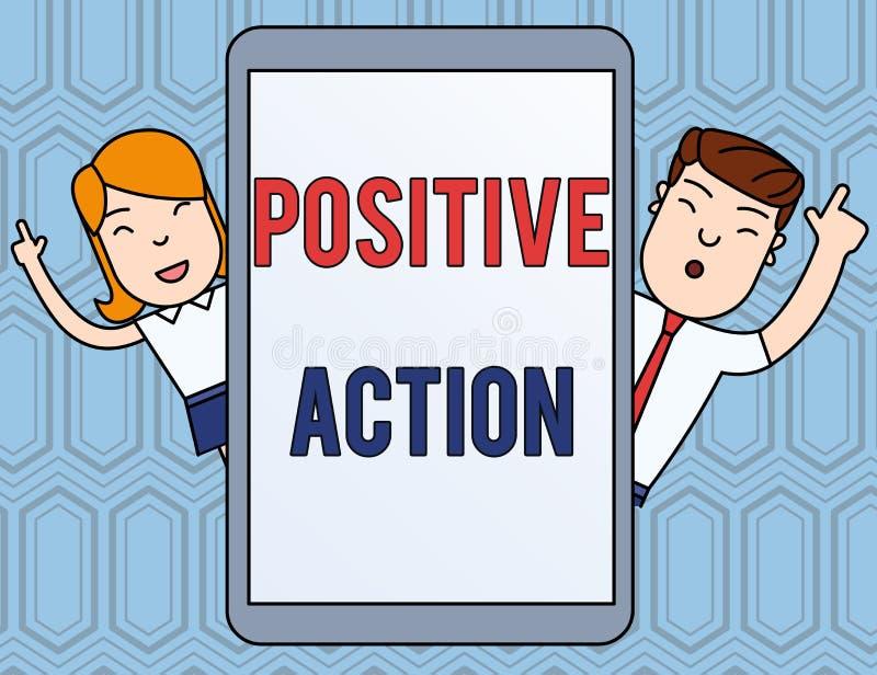Positiv handling f?r textteckenvisning Begreppsmässigt foto som gör bra inställning mot fin reaktionsman för bestämt läge och stock illustrationer