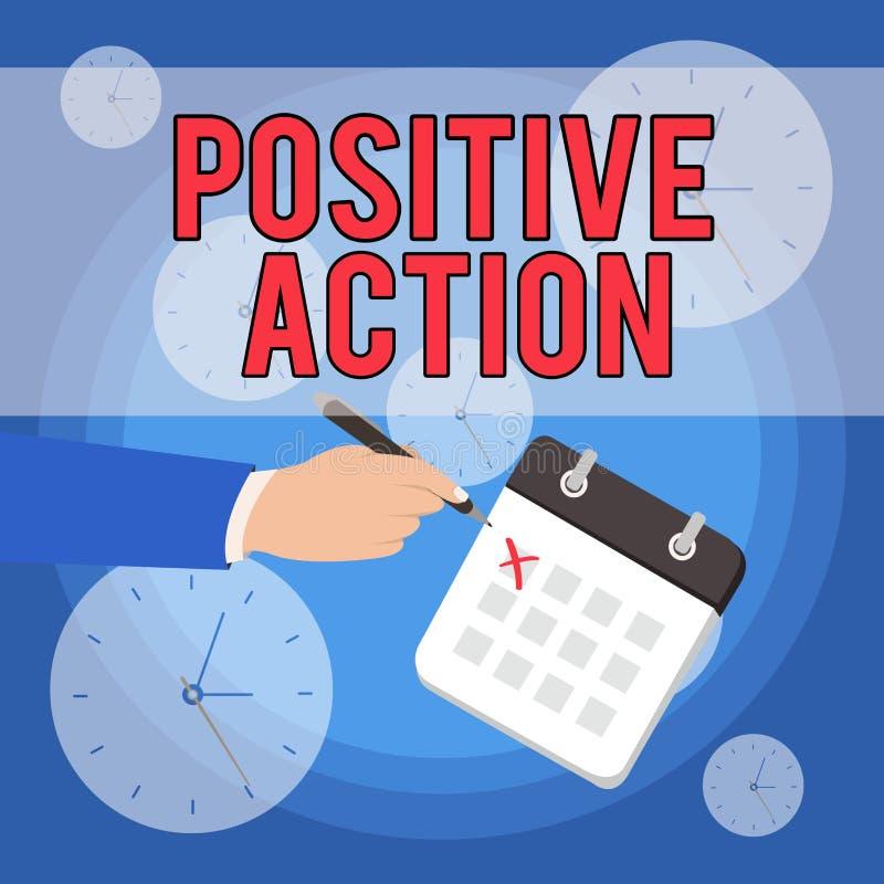 Positiv handling f?r textteckenvisning Begreppsmässigt foto som gör bra inställning mot fin reaktionsman för bestämt läge vektor illustrationer
