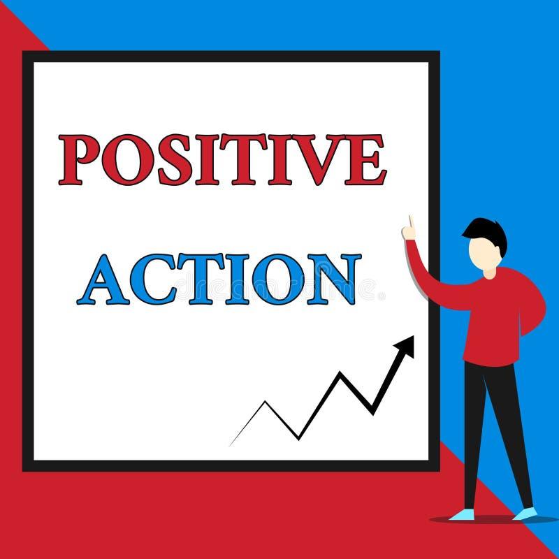 Positiv handling f?r textteckenvisning Begreppsmässigt foto som gör bra inställning mot fin reaktionssikt för bestämt läge stock illustrationer