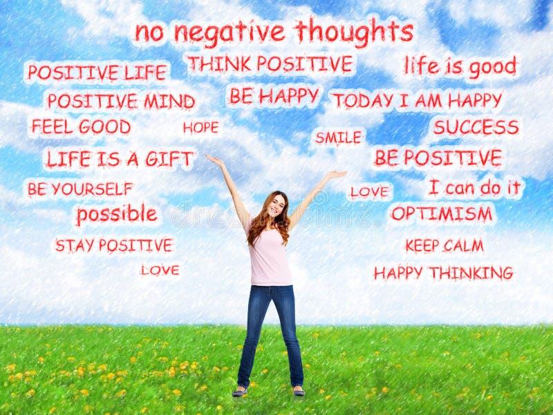 Positiv lycklig kvinna på abstrakt bakgrund royaltyfria foton
