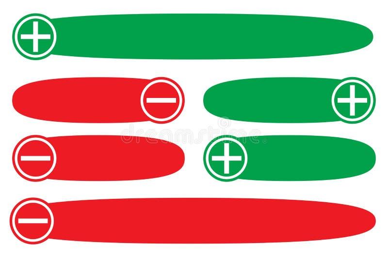 Positiv negationplus negativ rött grönt tomt för bedömning för textballongbaner Enkla begreppsfördelar lurar listan stock illustrationer
