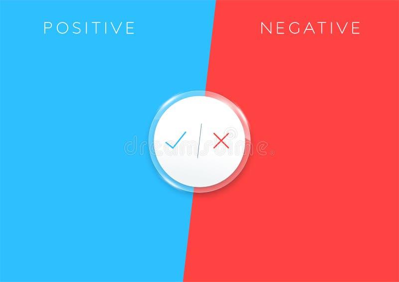 Positiv negativ lista färgrika Infographic för 2 moment stock illustrationer