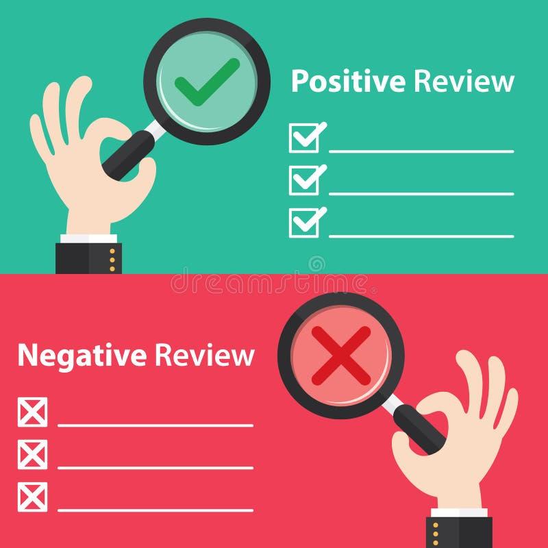 Positiv och negativ granskning royaltyfri illustrationer
