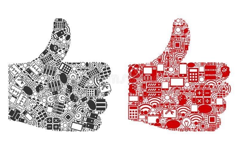 Positiva gestcollagesymboler för BigData royaltyfri illustrationer