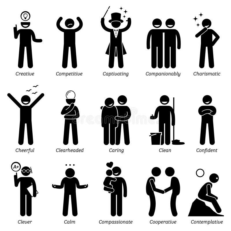 Positiva personlighetsteckendrag Clipart vektor illustrationer