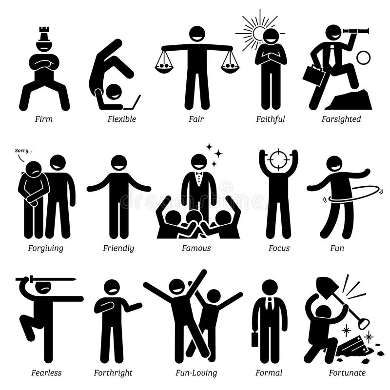Positiva personlighetsteckendrag Clipart stock illustrationer