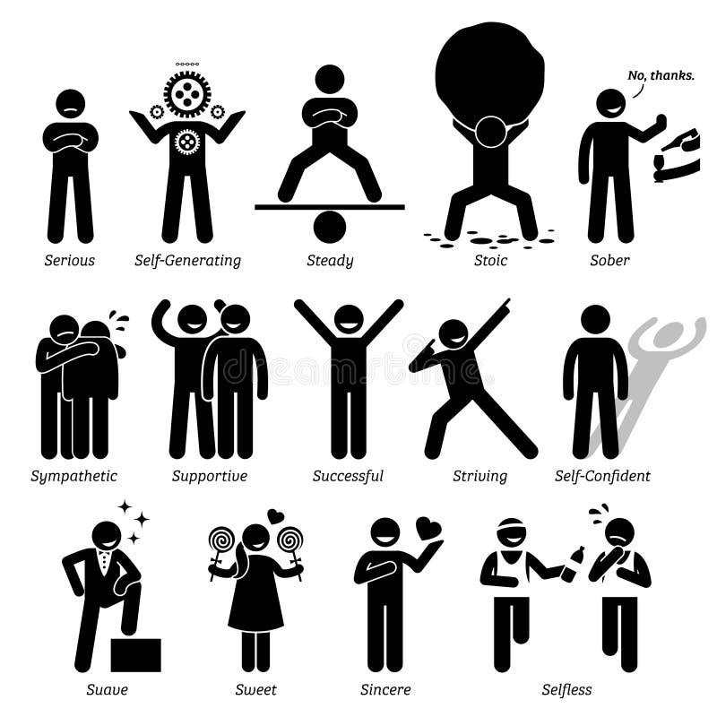 Positiva personlighetsteckendrag Clipart royaltyfri illustrationer