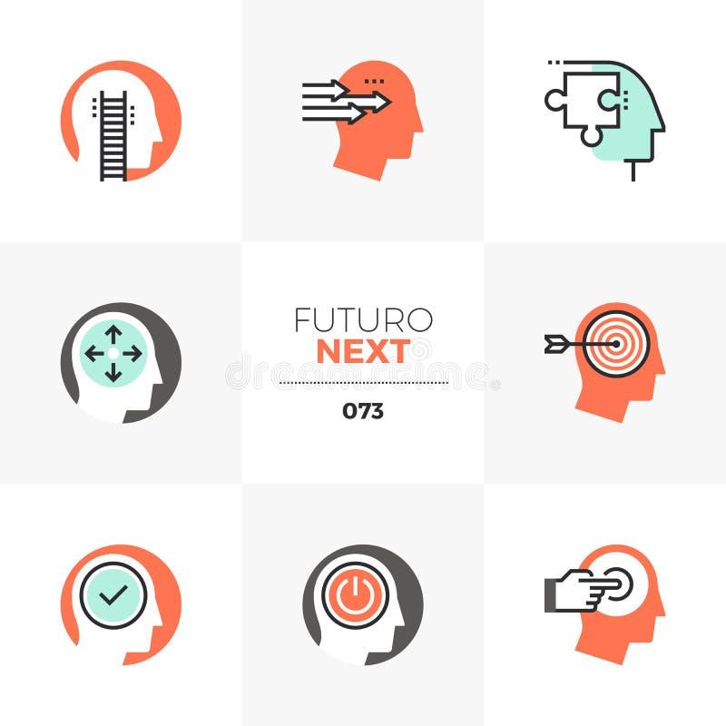 Positiva tänkande Futuro nästa symboler stock illustrationer